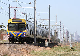 Werribee railway line - Comeng train on the Werribee line near the site of the former Galvin railway station
