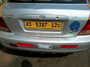 Vehicle registration plates of Ghana - Image: Commercial Hyundai Accent