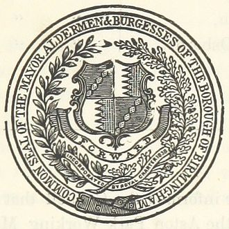Birmingham City Council - Image: Common seal of the Mayor, Aldermen + Burgesses of the Borough of Birmingham