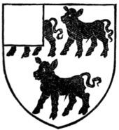 Fig. 378.—Armorial bearings of John Henry Metcalfe, Esq.: Argent, three calves passant sable, a canton gules.
