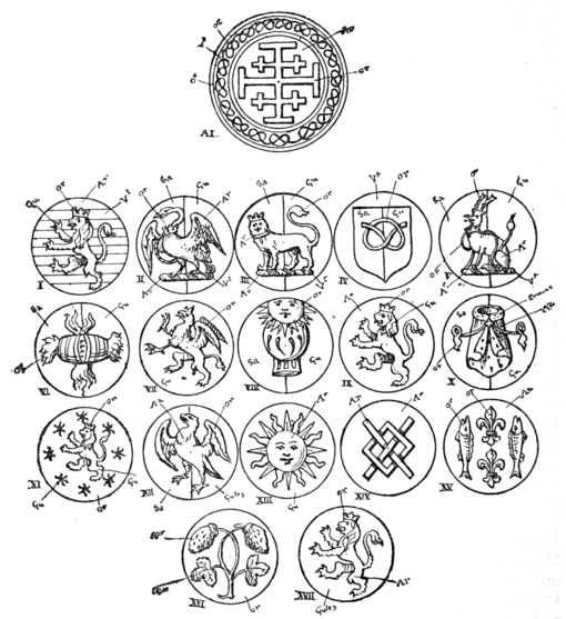 Fig. 674.—The Stafford Badges as exemplified in 1720 to William Stafford Howard, Earl of Stafford.
