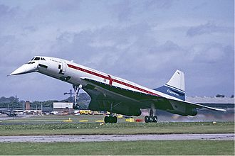 Concorde landing at Farnborough in September 1974 Concorde landing Farnborough Fitzgerald.jpg