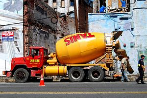 Cement mixer truck in Jersey City, United States.