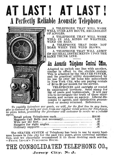 Acoustic telephone ad, The Consolidated Telephone Co., Jersey City, NJ 1886 Consolidated Telephone Co. ad 1886.jpg