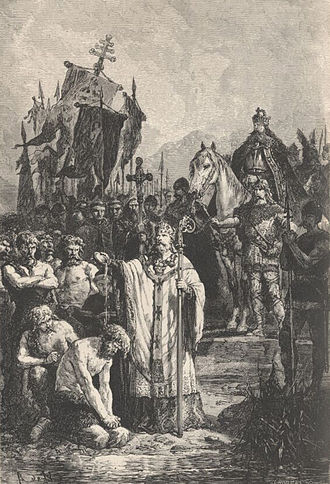 Old Saxony - Conversion of the Saxons, A. de Neuville, c.1869