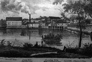 Samuel J. Kirkwood - Coralville mills in 1870; Kirkwood's mill on the right.