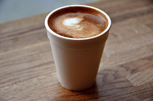Disposable cup - A disposable foam cup containing coffee