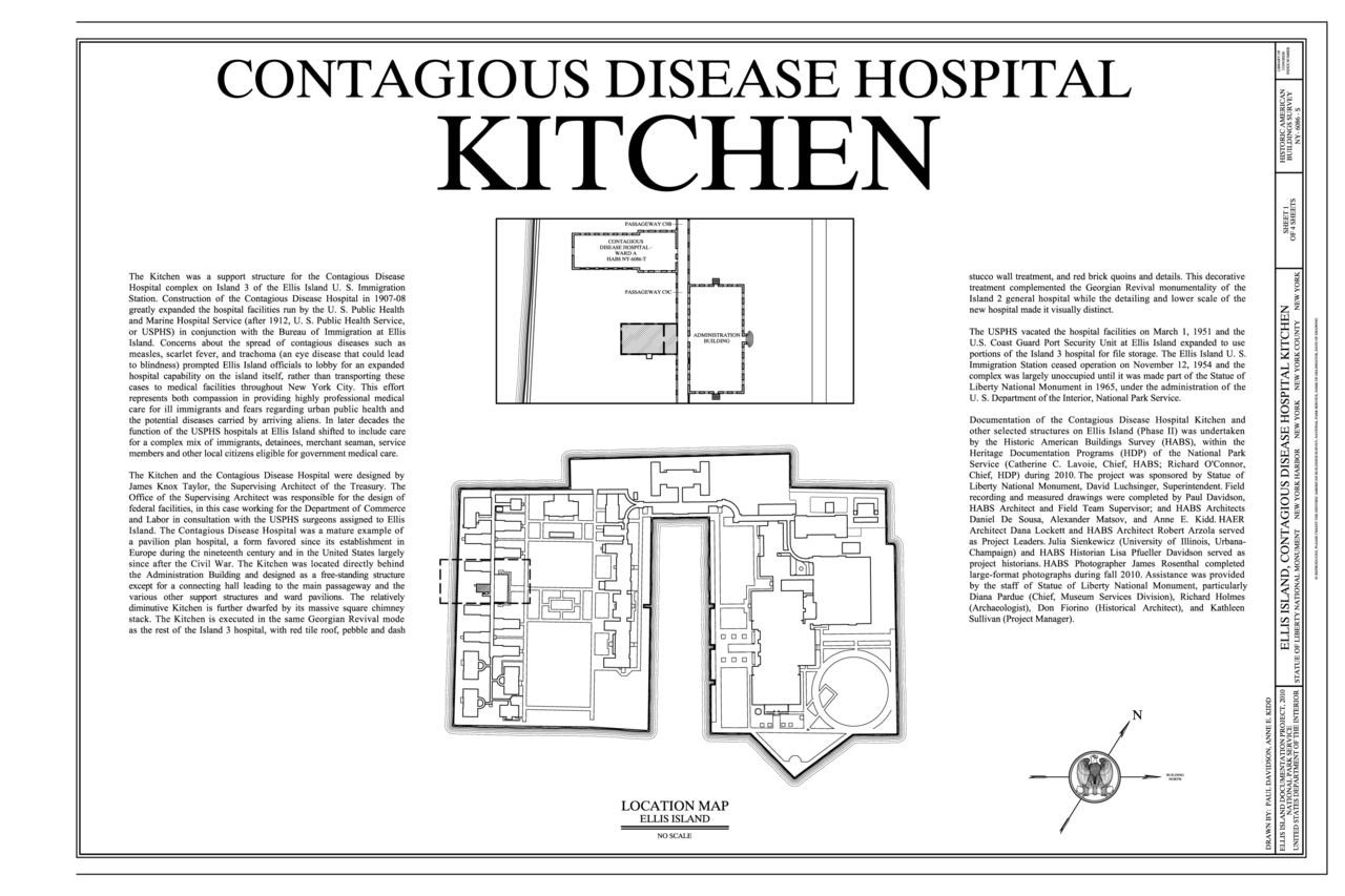 File Cover Sheet Ellis Island Contagious Disease Hospital Kitchen New York Harbor New York