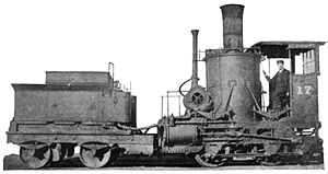 Jackshaft (locomotive) - A Baltimore and Ohio Crab.  The crankshaft is directly below the cab at the front of the engine, geared to the jackshaft, which is coupled to the driving axles by side rods.