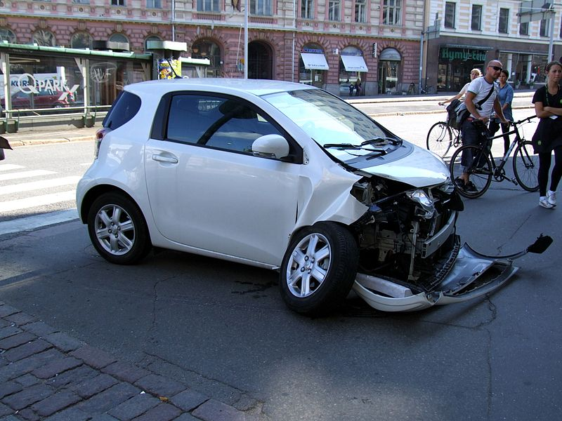 crashed driverless car