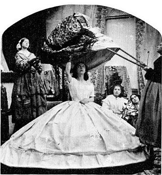 Crinoline - Comic photograph, c.1860