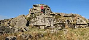 "Dartmoor tin-mining - Crockern Tor – Parliament Rock as seen from the ""floor"" of the Great Court."