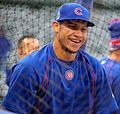 Cubs catcher Willson Contreras smiles during batting practice at Wrigley Field. (30505413532) (1).jpg