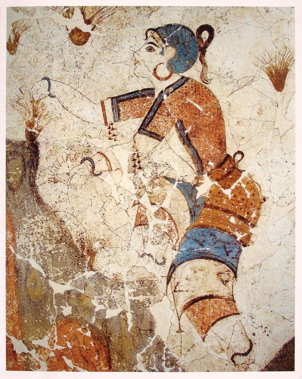 Cueilleuse de safran, fresque, Akrotiri, Gr%C3%A8ce