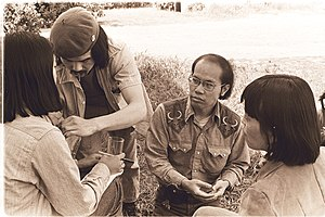 "Low-budget film - Preparing to record the 1976 Wendy Yoshimura documentary, ""Wendy...uh...What's Her Name"" in Fresno, California,1976."