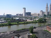 A collection of fixed and movable bridges crosses the Cuyahoga River in downtown Cleveland.