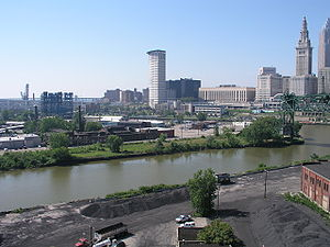 A collection of bridges crossing the Cuyahoga River in downtown Cleveland. The low-level bridges are drawbridges, while the high-level bridge in the background is fixed.