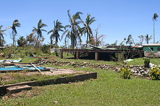 Cyclone Evan - Buildings flattened by the storm in Fiji