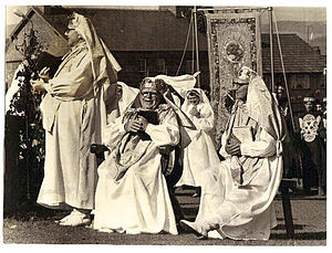 Albert Evans-Jones - The Archdruid Cynan (middle) at the National Eisteddfod at Aberdare, 1956.