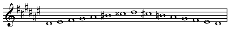 D-sharp melodic minor scale ascending and descending.png