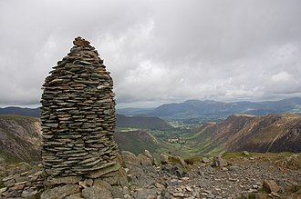 Dale Head - The view of the Newlands Valley and Skiddaw from Dale Head summit cairn .