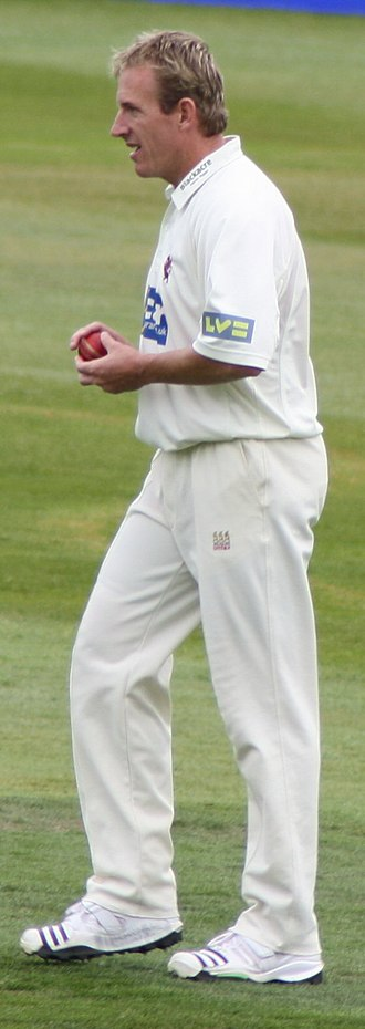 Damien Wright - Preparing to bowl for Somerset