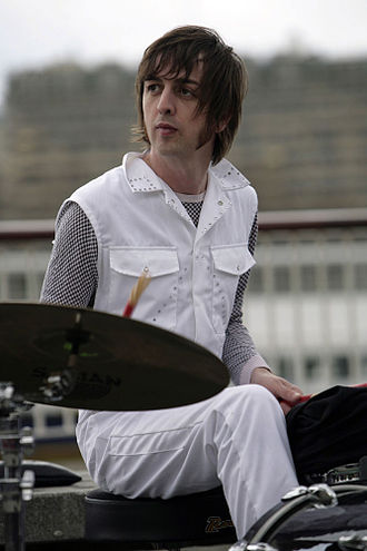 Danny Goffey - Danny Goffey performing with Supergrass on London's South Bank, 2008.