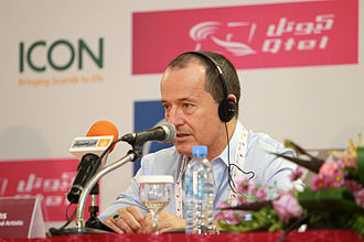 David Atkins - David Atkins, who designed the Opening Ceremony of the Doha Arab Games, answers a question from the media