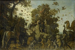 The poet crowned by two apes at the feast of the animals