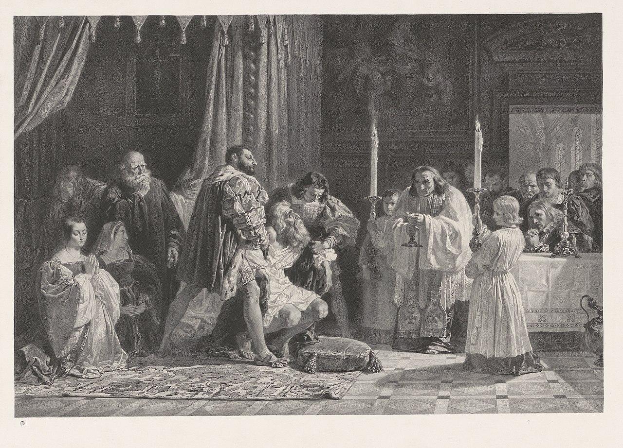 Де Дуд ван Леонарда да Винчи.  Ondersteund door koning Frans I tracht de schilder neder te knielen for een priester, die met het laatste sacrament nadert, RP-P-1881-A-4684X.jpg