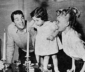Deana Martin - Deana Martin at 2 years old with her father and stepmother, Jeanne.