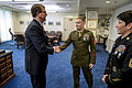 Defense Secretary Ash Carter greets Marine Corps Staff Sgt. Seth B. Densford and Army Master Sgt. Kimberly L. Baker, the junior and senior enlisted service members of the year respectively, at the Pentagon, Jun 150611-D- LN567-007c.jpg