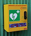 Defibrillator at Copsale Hall, Copsale, Nuthurst, West Sussex, England.jpg