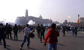 2012 Delhi gang rape - Police used water cannon and tear gas to attempt to break up the protestors.