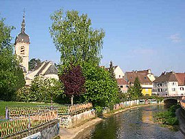 The River Allaine and the village centre