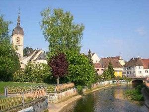 Delle - The River Allaine and the village centre
