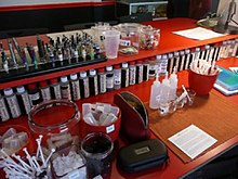 A photo of a juice bar mixing station at a vape shop in January 2016.