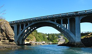 National Register of Historic Places listings in Lincoln County, Oregon - Image: Depoe Bay Bridge seaside Oregon