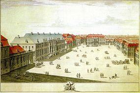 Der Wilhelmplatz, Federzeichnung von C.H. Horst, etwa 1733.jpg