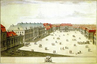 Johann Ernst Gotzkowsky - Early 1763 Gotzkowksy bought Palais Marschall (with the blue roofs) at Wilhelmsstraße 78, but had to sell it a few months later. To the left the Königliche Gold- und Silbermanufaktur (Wilhelmsstraße No. 79), rented by Ephraim