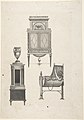 Design for furniture in a variation on the style of Thomas Sheraton, a desk or bookcase, a plate-warmer (?) pedestal, and a cradle MET DP803588.jpg