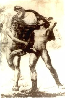 Diagoras lifted and paraded by his sons - Historical Fighters and Wrestlers