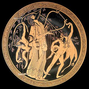 Brygos - Dionysos and a satyr on a vase made by Brygos and painted by the Brygos Painter, ca. 480 BC (Cabinet des Médailles, Paris)