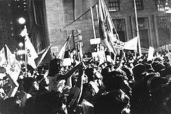 Passeata no centro de São Paulo, em 16 de abril de 1984. Foto: Jorge H. Singh