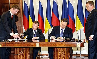 Russia–Ukraine gas disputes - Signing of the deal reached at the Kharkiv summit on 21 April 2010 by Dimitry Medvedev and Viktor Yanukovych
