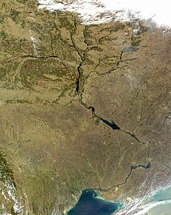 Satellite image of the Dnieper and its tributaries.