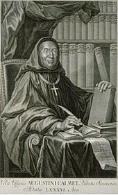 Engraving of Dom Augustine Calmet from 1750