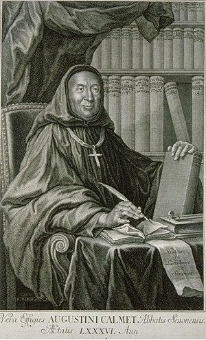 Antoine Augustin Calmet - 1750 engraving of Dom Augustin Calmet