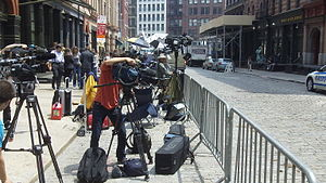 Media circus - Cameras and reporters in front of the Strauss-Kahn apartment on May 26, 2011