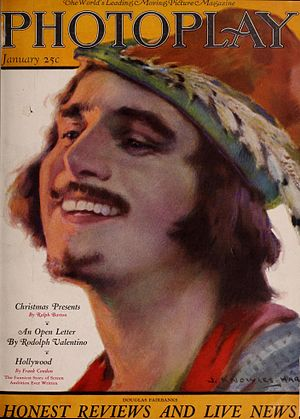 Robin Hood (1922 film) - Fairbanks as Robin Hood on the cover of Photoplay, illustrated by J. Knowles Hare.